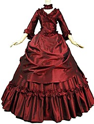 cheap -Victorian Rococo Costume Women's Adults' Outfits Red Vintage Cosplay Flocking Reasonable 3/4 Length Sleeves Sweep / Brush Train