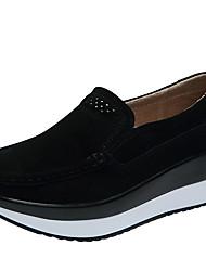 abordables -Femme Chaussures PU de microfibre synthétique Printemps Eté Confort Basket Chaussures de Swing Creepers Bout rond pour De plein air Noir