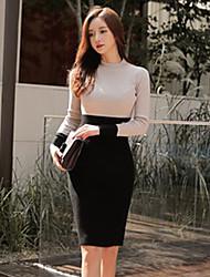 abordables -Gaine Tricot Robe Femme Quotidien simple,Couleur Pleine Col Ras du Cou Mi-long Manches longues Coton Polyester Printemps Automne Taille
