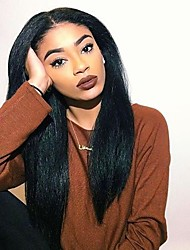cheap -Italian Yaki Human Hair Wigs Lace Front for Black Women Brazilian Remy Hair Glueless Lace Wig with Baby Hair