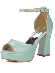 baratos -Mulheres Sapatos Couro Ecológico Primavera / Verão Conforto / Inovador Sandálias Salto Robusto Peep Toe Tachas / Presilha Roxo / Vermelho