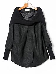 Недорогие -Жен. Повседневные Зима Осень Обычная Пальто Воротник-стойка, Обычные Однотонный Полиэфир