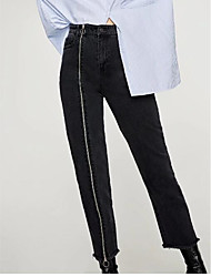 cheap -Women's Jeans Pants - Solid High Rise