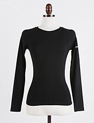 preiswerte -Damen Laufshirt Langarm Rasche Trocknung Atmungsaktivität Oberteile für Yoga Laufen Chinlon Elastan Schwarz Grau Dunkelmarine S M L