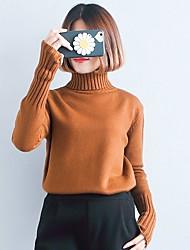 economico -Per donna Manica lunga Pullover Tinta unita A collo alto