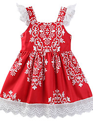 cheap -Girl's Daily Going out Floral Geometric Dress, Cotton Polyester Summer Sleeveless Casual Chinoiserie Boho Red