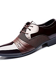 cheap -Men's Shoes Patent Leather Spring Fall Comfort Oxfords for Casual Party & Evening Black Brown