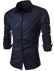 cheap -Men's Cotton Slim Shirt - Striped