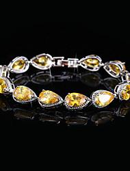 Недорогие -Жен. Синтетический алмаз Браслет - Серебрянное покрытие Браслеты Желтый / Красный Назначение Свадьба / Для вечеринок