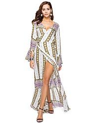 cheap -Women's Daily Beach Boho Loose Shift Dress,Floral V Neck Maxi Long Sleeve Polyester Elastane Spring Summer High Waist Micro-elastic Thin