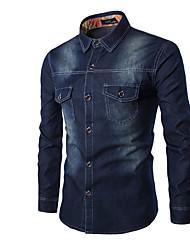 cheap -Men's Cotton Shirt - Print / Long Sleeve