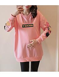 cheap -Women's Casual/Daily Simple Print Round Neck Sweatshirt Regular, Long Sleeves Winter Autumn/Fall