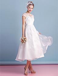 cheap -A-Line Illusion Neckline Tea Length Organza Wedding Dress with Appliques Lace Sash / Ribbon Bow by LAN TING BRIDE®