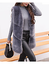 cheap -Women's Daily Casual Winter Fall Vest,Solid V Neck Long Sleeve Long Others Oversized