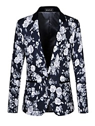 cheap -Men's Work Casual Spring Fall Blazer,Floral Print Peaked Lapel Long Sleeve Regular Cotton Spandex