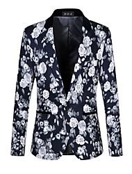 cheap -Men's Work Casual Spring Fall Blazer,Floral Print Peaked Lapel Long Sleeve Regular Cotton Spandex