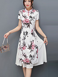 cheap -Women's Work Vintage Chinoiserie Boho A Line Sheath Dress - Floral Geometric Stand