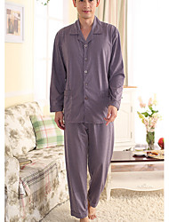 cheap -Men's Suits Pajamas,Floral Polyester Purple Gray