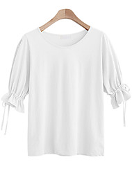 economico -T-shirt Da donna Quotidiano Casual Attivo Estate,Tinta unita Rotonda Cotone Poliestere Maniche corte Sottile