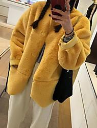 cheap -Women's Daily Casual Winter Fall Coat,Solid Round Neck Long Sleeve Regular Rex Rabbit Fur Oversized