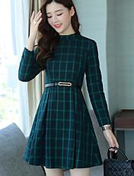 baratos -Mulheres Bainha Vestido Xadrez/Quadrados Colarinho de Camisa