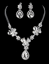 cheap -Women's Cubic Zirconia Jewelry Set - Silver Drop Classic, Vintage, Elegant Include Drop Earrings / Choker Necklace / Bridal Jewelry Sets Silver For Wedding / Engagement / Ceremony