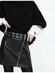 preiswerte -Damen Freizeit Alltag Mini Röcke Bodycon, Leder Herbst
