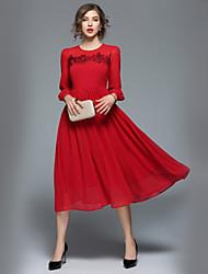 Недорогие -Жен. Офис Уличный стиль А-силуэт С летящей юбкой Платье - Однотонный Средней длины
