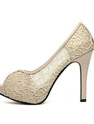 preiswerte -Damen Schuhe PU Sommer Komfort High Heels Stöckelabsatz Offene Spitze Peep Toe für Draussen Schwarz Beige