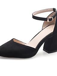 Недорогие -Жен. Обувь Дерматин Весна Осень Удобная обувь Обувь на каблуках На толстом каблуке Заостренный носок Пряжки для Повседневные Для праздника
