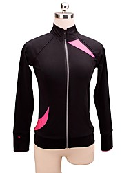cheap -Figure Skating Fleece Jacket Women's Girls' Ice Skating Top Pink Spandex Stretchy Performance Practise Skating Wear Solid Long Sleeves