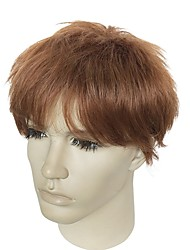 cheap -Synthetic Wig kinky Straight Layered Haircut Natural Hairline Brown Men's Capless Celebrity Wig Natural Wigs Short Synthetic Hair