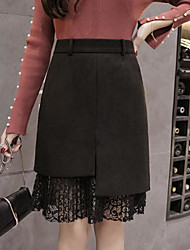 cheap -Women's Holiday Going out Above Knee Skirts,Simple A Line Cotton Solid Lace Winter Autumn/Fall