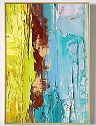 Недорогие -Масляная картина в раме Абстракция Масляные картины Предметы искусства, Алюминиевый сплав материал с рамкой Украшение дома Предметы