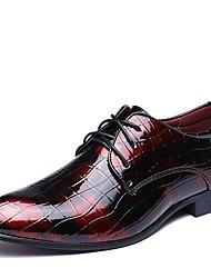Недорогие -Муж. Официальная обувь Лакированная кожа Весна / Осень Удобная обувь Туфли на шнуровке Ботинки 3D Черный / Красный / Синий / Для вечеринки / ужина / Печать Оксфорд