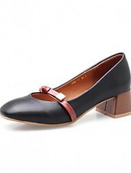 baratos -Mulheres Sapatos Courino Primavera / Outono Conforto / Inovador Saltos Salto Robusto Ponta quadrada Laço Preto / Amarelo / Amêndoa