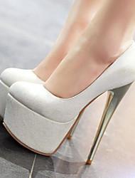 preiswerte -Damen Schuhe PU Herbst Komfort High Heels Stöckelabsatz Geschlossene Spitze für Normal Draussen Weiß Blau Rosa