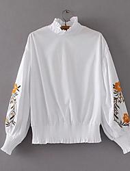 cheap -Women's Daily Cute Blouse,Print Turtleneck Long Sleeve Polyester