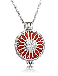 cheap -Women's Locket Circle Sunflower Shape Fashion European Pendant Necklace Chain Necklace , Luminous Stone Alloy Pendant Necklace Chain