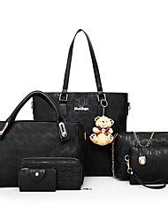 preiswerte -Damen Taschen PU 6 Stück Geldbörse Set Reißverschluss für Einkauf Normal Ganzjährig Blau Gold Schwarz Rote Beige