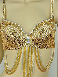 abordables -Carnaval Soutien-gorge samba Belly Dance - Soutien-gorge pailleté tribal Femme Carnaval Fête / Célébration Déguisement d'Halloween Violet