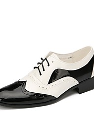 "cheap -Men's Swing Shoes Patent Leather Flat Performance Flat Heel Black/White 1"" - 1 3/4"" Customizable"