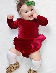 abordables -bébé Une-Pièce Fille Quotidien Couleur Pleine Coton Fibre de bambou Printemps Manches courtes simple Rétro Rouge