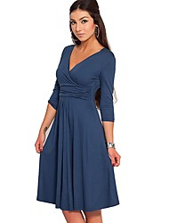 cheap -Women's Work Vintage Casual A Line Swing Dress - Solid Colored, Ruched High Waist V Neck