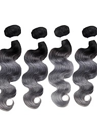 Недорогие -Бразильские волосы Remy Естественные кудри Ткет человеческих волос 4шт Омбре