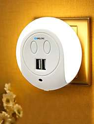 economico -BRELONG® 1pc Night Light LED Bianca capezzale Con porta USB