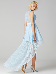 cheap -A-Line Jewel Neck Asymmetrical Lace Bridesmaid Dress with Sash / Ribbon by LAN TING BRIDE® / Sparkle & Shine