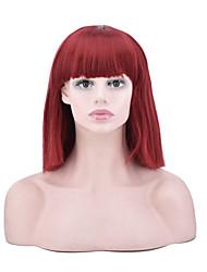 abordables -Perruque Synthétique Droit Coupe Carré Perruque afro-américaine Rouge Femme Sans bonnet Perruque de fête Perruque Naturelle Perruque de