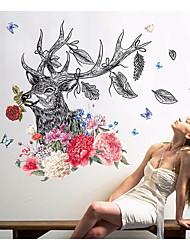 abordables -Abstrait Animaux Stickers muraux Autocollants muraux 3D Autocollants muraux décoratifs, Papier Décoration d'intérieur Calque Mural Mur