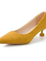 Недорогие -Жен. Обувь Резина Зима Модная обувь Ботинки На низком каблуке Заостренный носок Черный / Оранжевый / Розовый